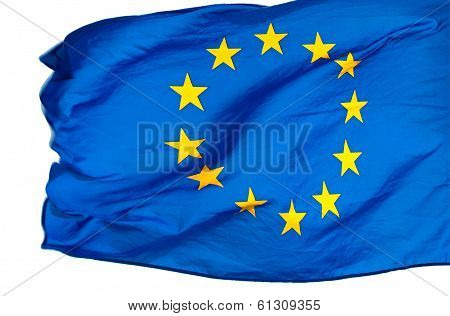 European Union Flag In The Wind On A White Background