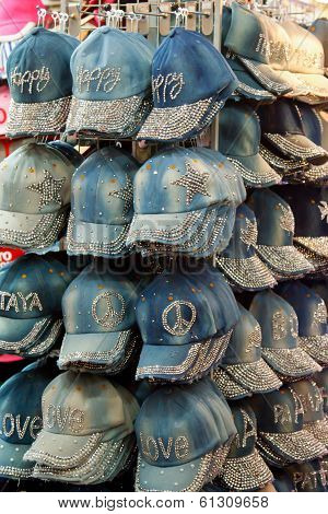 close up photo of hat in market