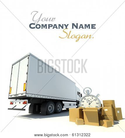 3D rendering of a white truck, a pile of boxes and a chronometer