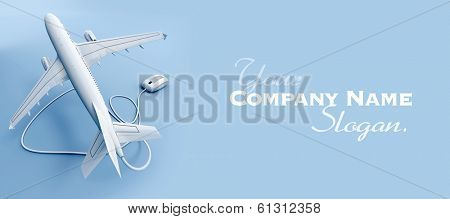 3D rendering of a flying airplane connected to a mouse