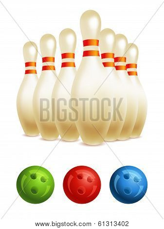 Vector bowling pins and bowling ball