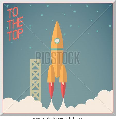 Retro Flat Design Rocket Start Space Stars Background Vector Illustration