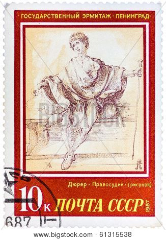 Stamp Printed In The Ussr, Shows A Painting Artist Albrecht Durer