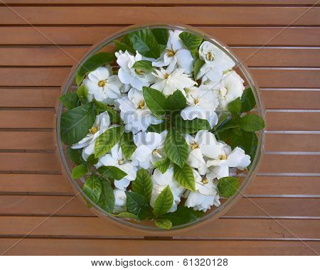 glass vase with gardenia flowers