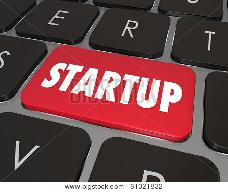 Startup Word Computer Keyboard Button Online Internet Business