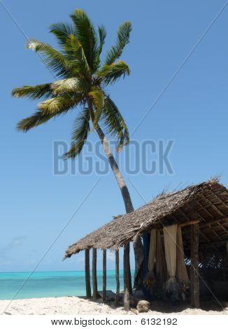Fishing nets on tropical beach