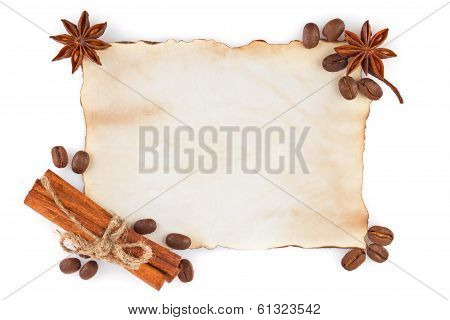 Vintage Sheet Paper With Spice And Coffee Seed