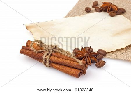 Spice With Coffee Seed On Vintage Sheet Paper And Cloth