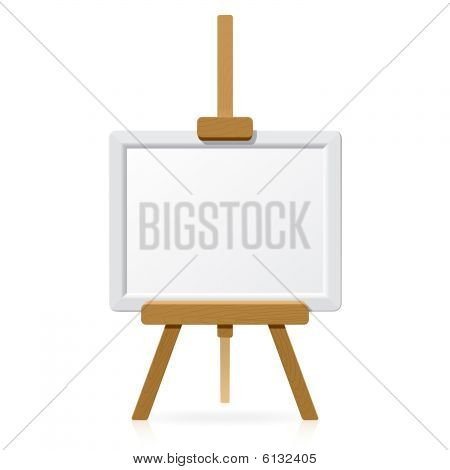 Wooden easel with blank canvas. Vector illustration.