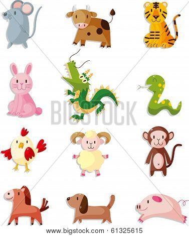 12 Animal Icon Set chinese Zodiac Animal