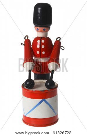 child's toy of drummer soldier on white