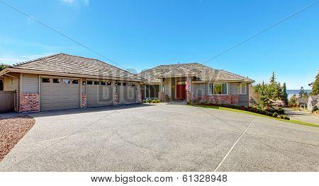 Beautiful House With Brick Trim Wall