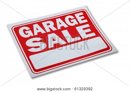 Garage sale sign on white background