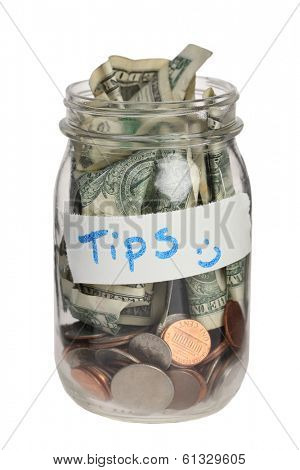 Tip jar on white background