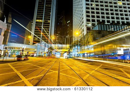 ight trails on the street in Hong kong