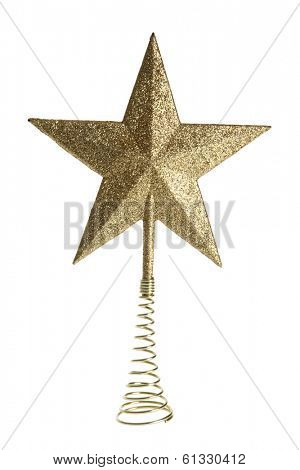Golden glitter tree topper star on white background