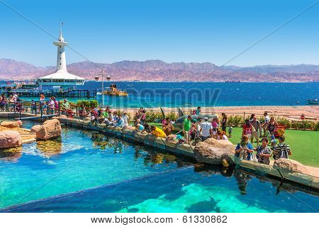 EILAT, ISRAEL - MARCH 31, 2010: Marine park observatory with hundreds of thousands visitors annually allows to explore wonders of Red Sea from close up and located in popular resort of Eilat.