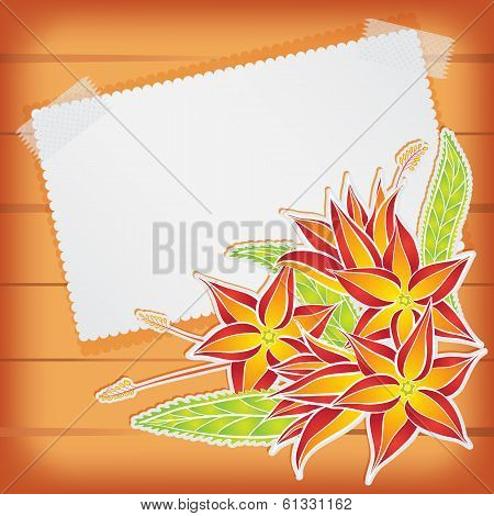 Greeting card with scotch tape and flowers