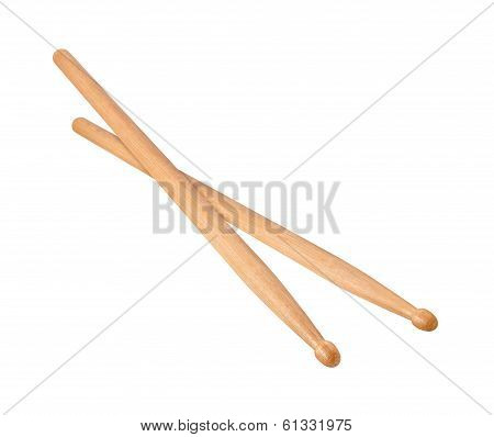 Two Wooden Drumsticks Isolated