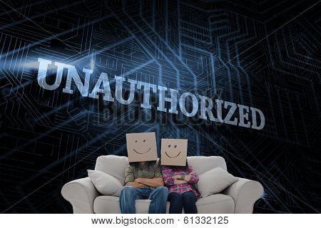 The word unauthorized and silly employees with arms folded wearing boxes on their heads against futuristic black and blue background