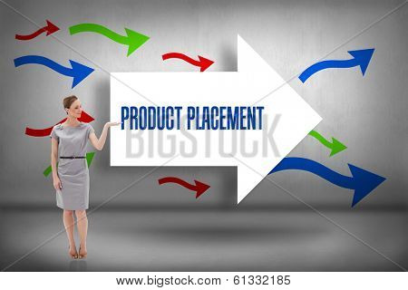 The word product placement and woman in a dress holding her hand up against arrows pointing