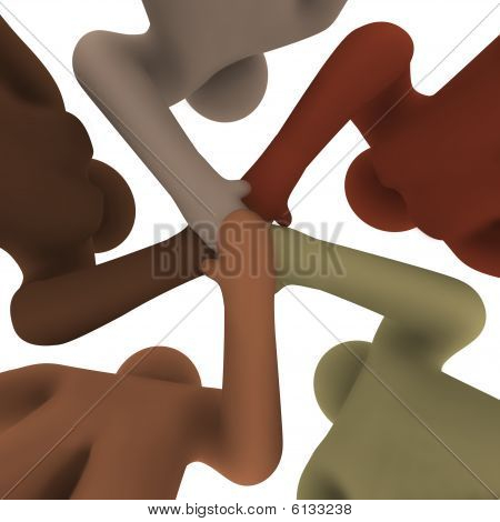 Diverse People Joining Hands - From Below