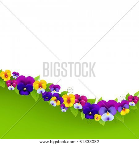 Background With Pansies And Leaf, With Gradient Mesh, Vector Illustration