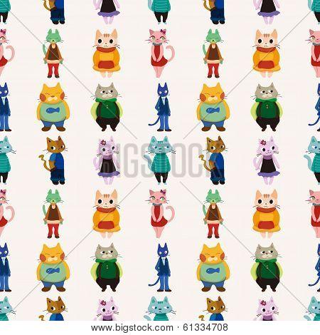 Sweet Cat Family Seamless Pattern