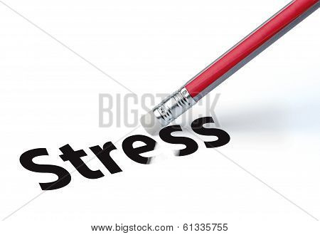 Pencil Erasing The Word 'stress'