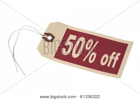 tag labeled 50% off