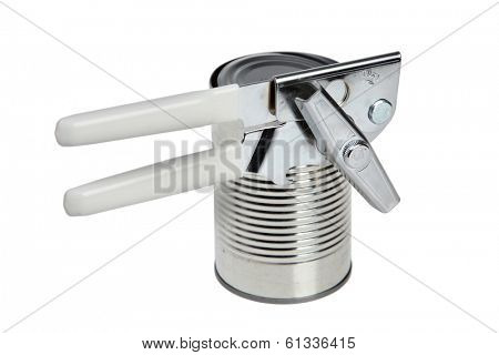 Can and can opener on white background