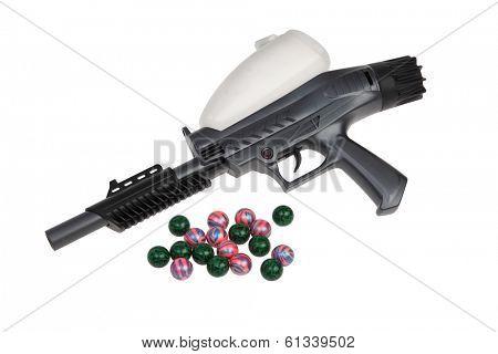 Paintball gun on white background
