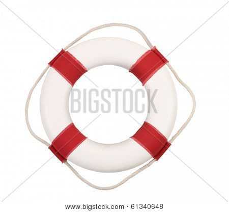 Life preserver cut out, isolated on white background