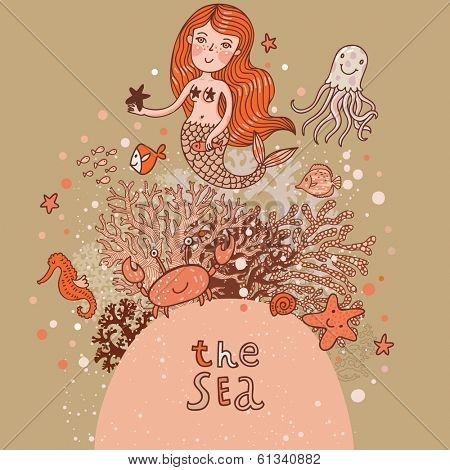 Bright cartoon card with mermaid, octopus, fishes, crab and sea horse near coral. Childish illustration in vector. Sea concept background