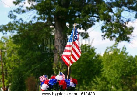 American Patriotism - Flag And Tree 2