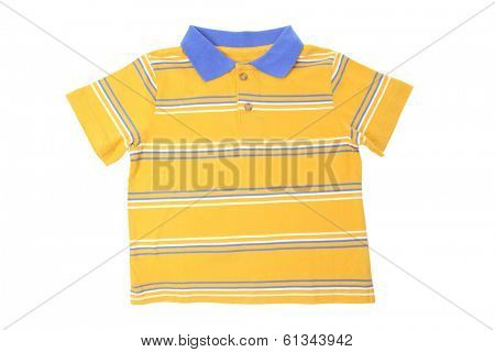 Yellow striped shirt isolated over white background