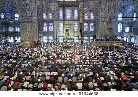 Blue Mosque Ritual Of Worship Centered In Prayer, Istanbul, Turkey