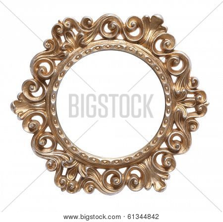 circular gold frame with white in the center