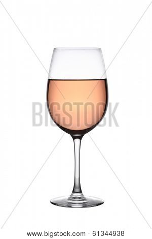 Glass of rose wine cutout, isolated on white background