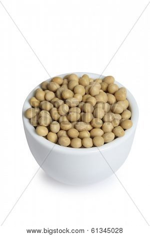 white bowl of soy beans on white background
