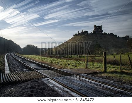 Unique Abstract Time Lapse Stack Landscape Of Medieval Castle And Railway Tracks