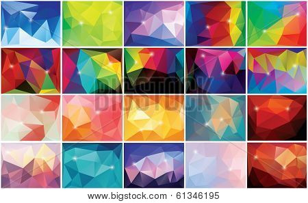 Collection of 20 abstract geometric backgrounds, pattern design, vector illustration