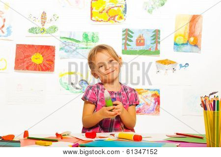 Smiling Girl With Glue Stick