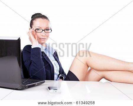 Flirting Business Woman