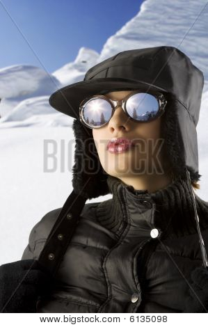 Winter Woman In The Snow