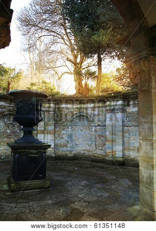 HEVER CASTLE AND GARDENS, KENT, UK - MARCH 10, 2014: vase in 250 acre park. 13th century  Tudor