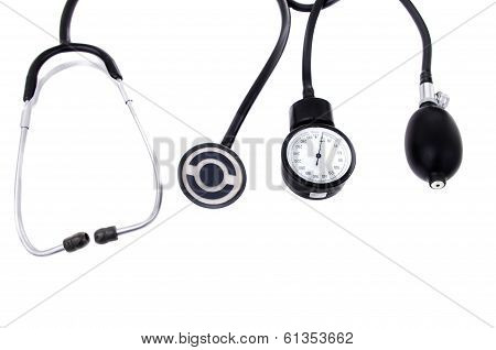 Medical equipment (stethoscope and sphygmomanometer)