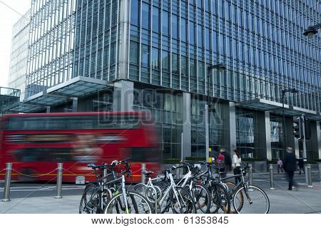LONDON, UK - MARCH 10, 2014: Canary Wharf business aria. Public transport Famous Red Double Decker B