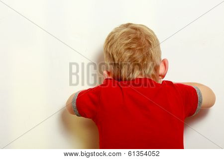Happy Childhood. Blond Boy Child Kid Covering Face. Play.