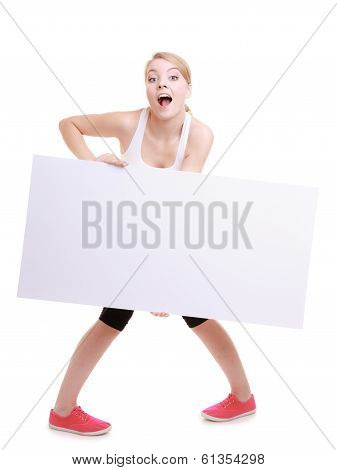 Woman Funny Wide Eyed Girl With Blank Billboard Sign Banner